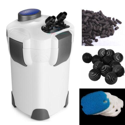 3-Stage External Canister Filter 265 GPH Fresh/Salt 100 GAL Aquarium FREE MEDIA