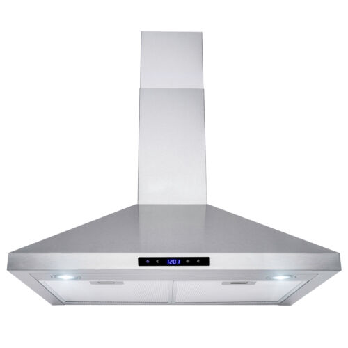 """30"""" Stainless Steel Wall Mount Range Hood Touch Panel Mesh Stove Kitchen Vent"""
