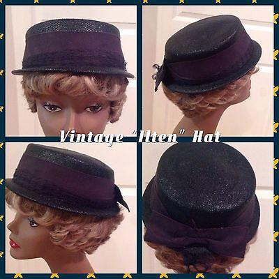 """Vintage """"Ilten"""" Ladies Hat Dark Blue 22 1/2"""" Good Vintage Condition! (6)"""