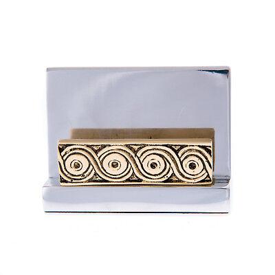 Business Card Holder Elegant Handmade Of Solid Aluminum Brass Archaic Design