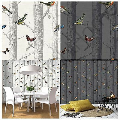 HOLDEN EPPING BIRDS WALLPAPER - GREY / WHITE BUTTERFLY LOUNGE HALLWAY