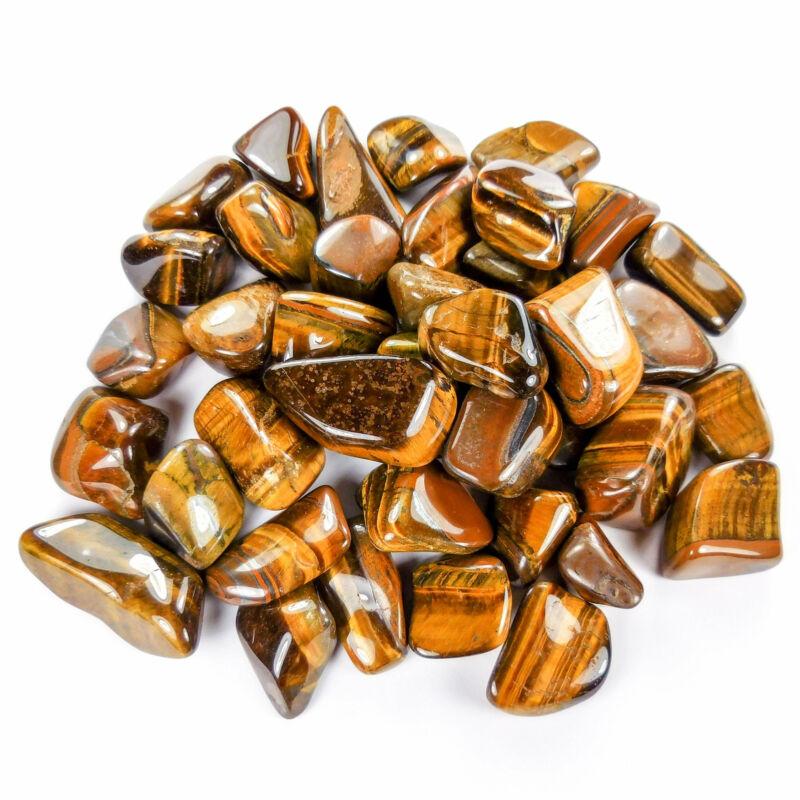 Bulk Wholesale Lot 1 LB - Tigers Eye - One Pound Tumbled Polished Stones