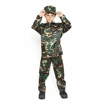 Kid Costumes For Boys (Boys Army Kids Soldier Action Man Fancy Dress Costume Outfit 3 Piece)