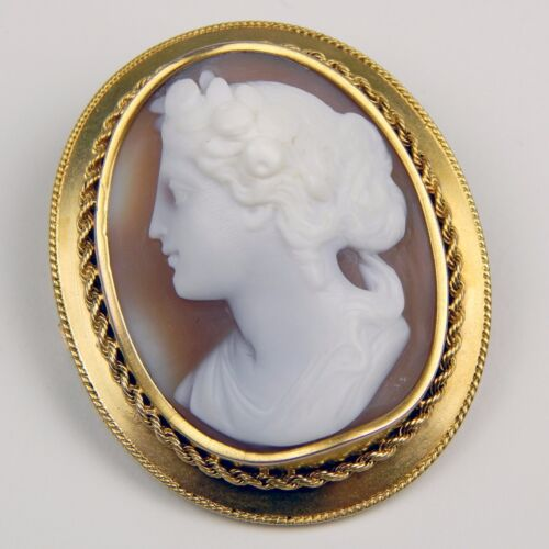 Late Victorian BIG High Relief Maiden Shell Cameo Brooch 14 k Yellow Gold  A7783