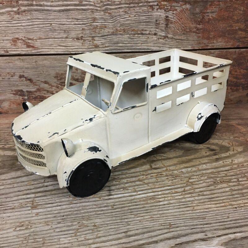 Vintage Style White Metal Truck Display Holder Art Statue Farmhouse Home