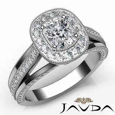 Halo Pave Bezel Set Cushion Diamond Engagement Split Shank Ring GIA H VS1 1.40Ct