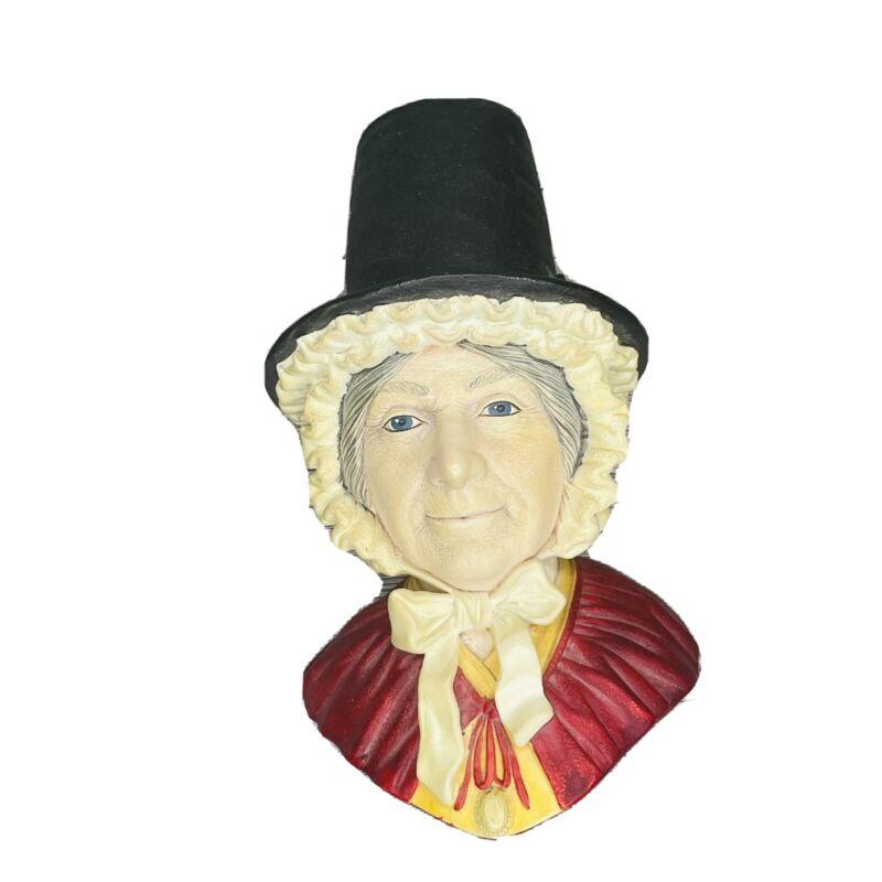 Bossons England Chalkware Head Art Vintage Early 1960 Woman with Hat Folk Art