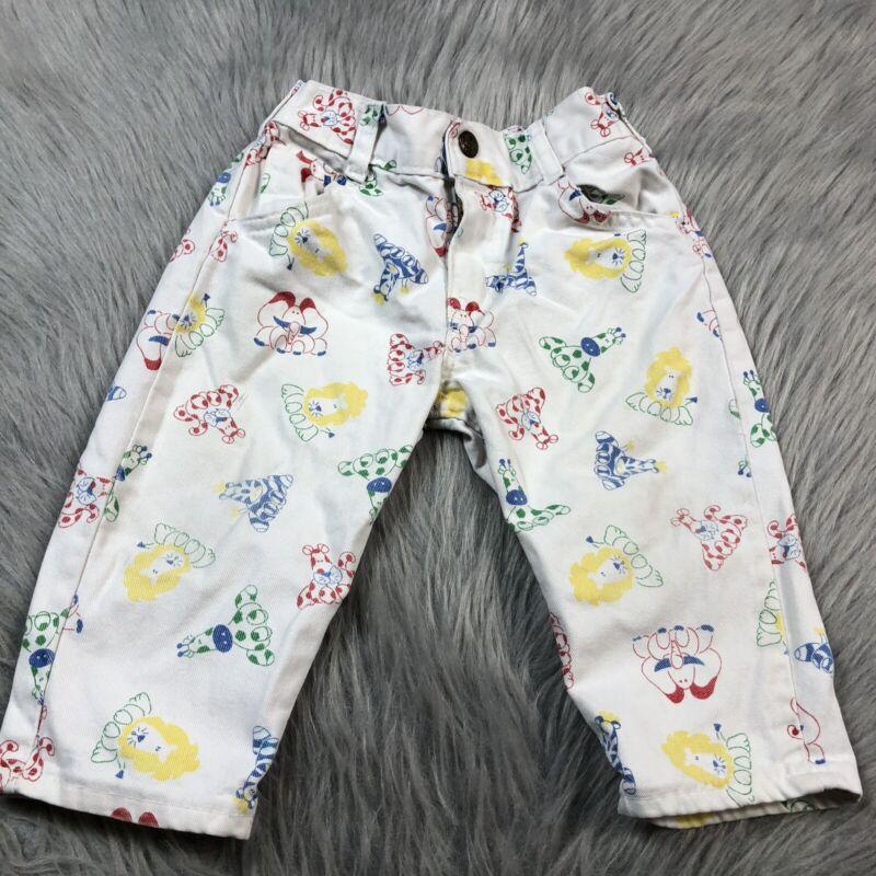 Vintage Baby Boys Oshkosh Bgosh White Primary Animal Jungle Print Pants