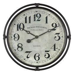 Retro Industrial Metal Round Wall Clock | Mid Century Modern Gray Vintage