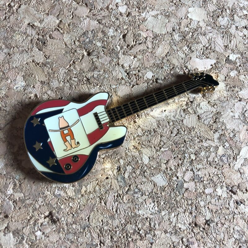 Houston Livestock Rodeo Show Flag Red White Blue Guitar Enamel Pin