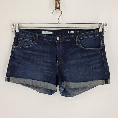Women's Gap Best Girlfriend Jean Shorts Cuffed Sz 34 Dark Wash