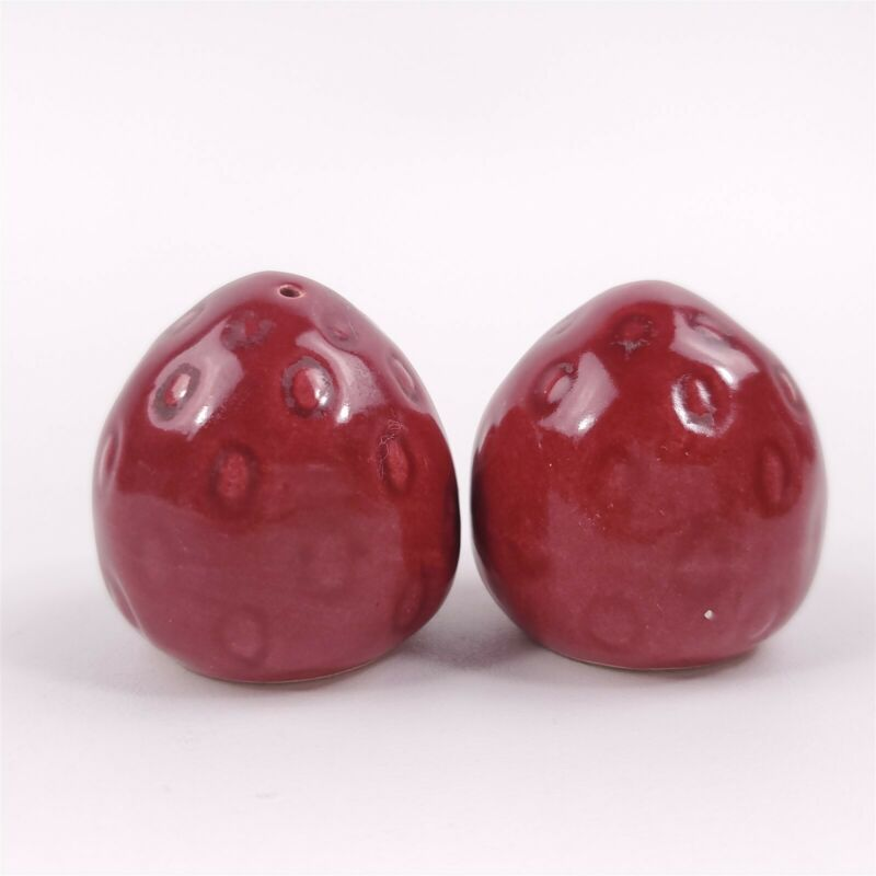 """Cute Small Strawberry Red Berry Salt & Pepper Shakers 1 3/4"""" Tall"""