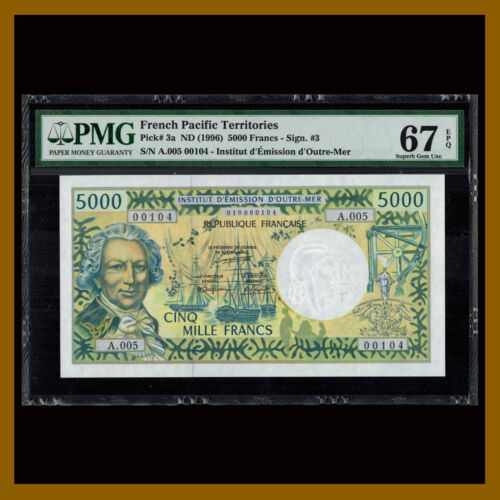 French Pacific Territories 5000 (5,000) Francs, 1996 P-3a Sig #3 PMG 67 EPQ Unc