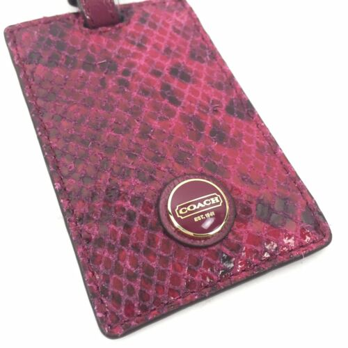 NWT Coach Women Signature Stripe Snake Embossed Luggage Tag Rasberry Pink F67039 - $26.60