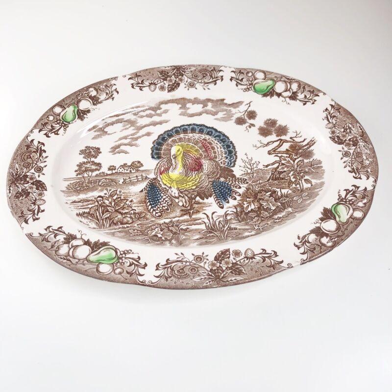 "VTG 1950's Grandma's 18"" Turkey Platter Large Oval Farmhouse Decor JAPAN"