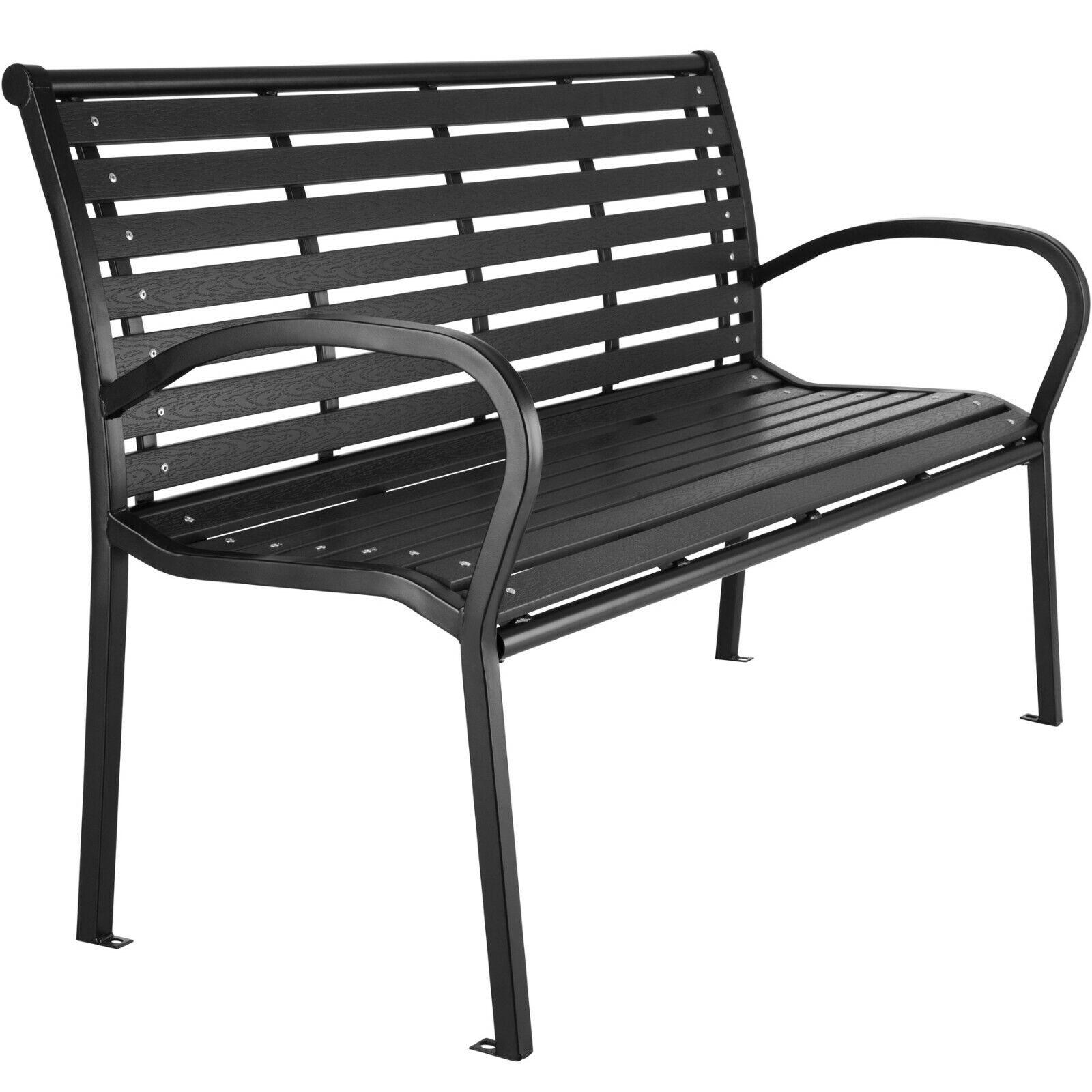Gartenbank 3-Sitzer Sitzbank Parkbank WPC Metall Bank Balkon Gartenmöbel schwarz
