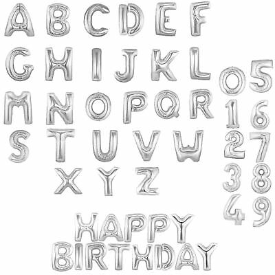 Silver Foil Balloons Baloons Letter Birthday Party Decorations Banner Bunting