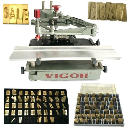 USED vigor FLAT ENGRAVING MACHINE ENGRAVER WITH 2 SET OF LETTER