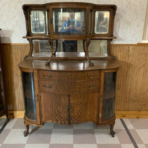 Antique Quarter Sawn Oak Sideboard with Curved Glass Doors & Claw Feet