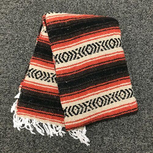 Mexican Blanket Brown Beige Rust Orange Falsa Yoga Blanket Large Bolster Serape