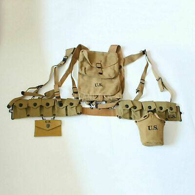 WW2 US Army Soldier 1928 Haversack Canteen First Aid Pouch Ammo Belt Collection