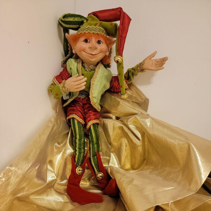 """15"""" POSABLE Elf ELVES Christmas Doll Shelf Sitter VELVET Jester Floridus Rascal"""
