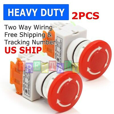 2pcs Emergency Stop Switch Red 600v 1 Nc 10a Contacts E-stop Twist Release