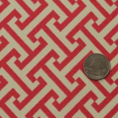 "P KAUFMANN CROSS SECTION PINK GREEK KEY GEOMETRIC COTTON FABRIC BY YARD 54""W for sale  USA"