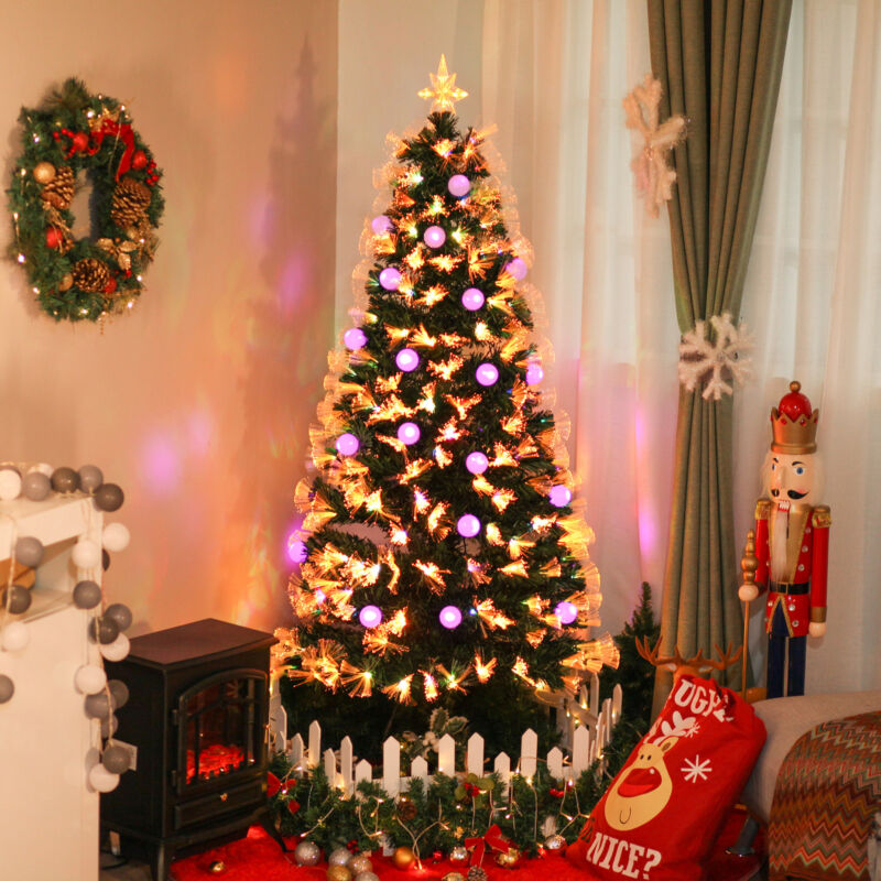 HOMCOM 6FT Tall Green Artificial Tree Fiber Optic Pre-Lit Christmas Decoration