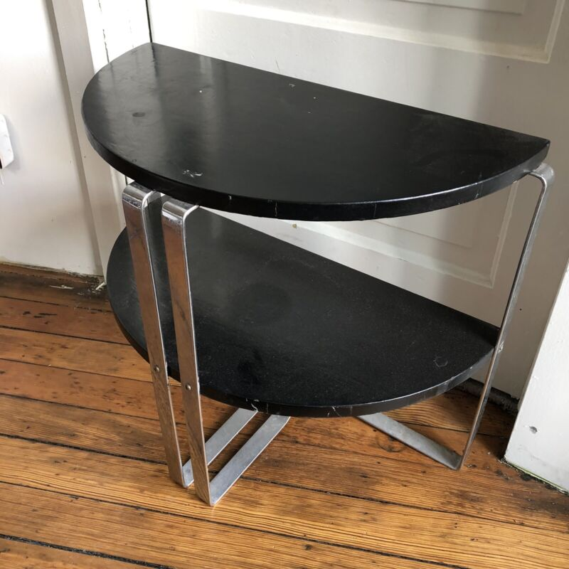 Art Deco Chrome  & Lacquer 2 Tier Demilune Side Table Wolfgang Hoffmann Howell