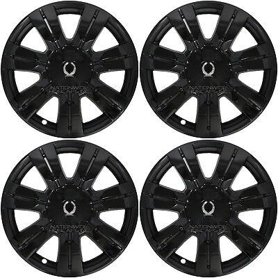 "4 Black 2010-2016 Cadillac SRX 18"" Full Wheel Skins Hub Caps & Center Rim Covers"