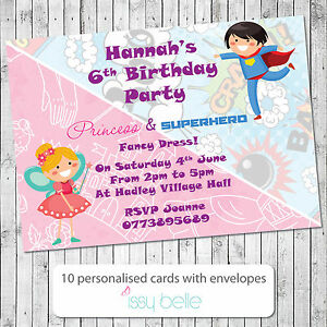 Personalised Birthday Party Invitations Boy Girl Princess Superhero Fancy Dress