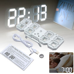 Modern LED Digital Wall Clock 3D White Snooze Alarm Timer 24/12 Hour Night mode