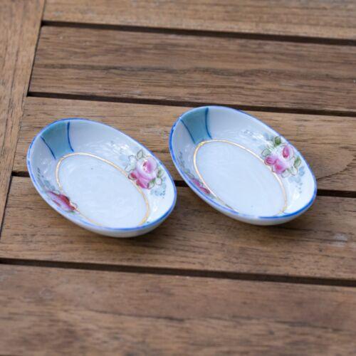 Set of (2) Japanese Porcelain Oval Butter Pats Blue Stripe Pink Roses