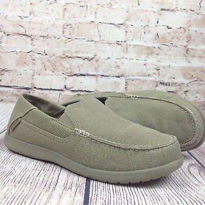 Crocs Men's Santa Cruz 2 Luxe Slip On Loafers Size 7 Khaki Beige Tan Boat Beach