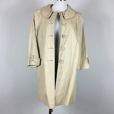 Helene Berman 4 Raincoat L Beige Button Front  Lined