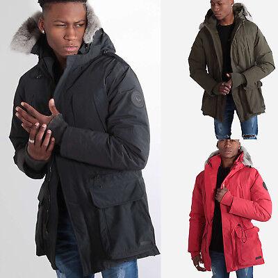 883 Police Mens Fur Hooded Duck Down Feather Padded Warm Designer Jacket Coat - Mens Fur Hooded Jackets