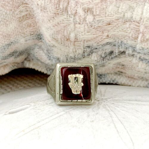 Old Sterling Silver 925 Carnelian Mexican Taxco Mens Initial Biker Sz 11.5 Ring