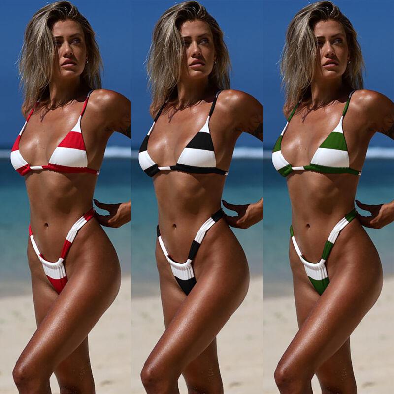 Damen Sexy Bikini Badeanzug Dessous Set Micro Neckholder BH mit String Bademode