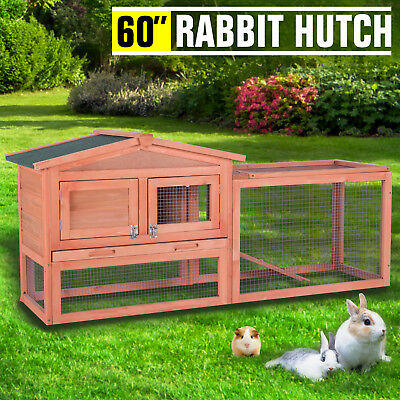 "60"" Wooden Rabbit Hutch Bunny House Small Animal Pet Cage With Backyard Run Ramp"