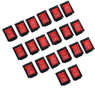 Us Stock 20pcs Kcd1-102 Mini Rocker Red 10a 3 Pin Spst On-off Switch 15 X 21mm