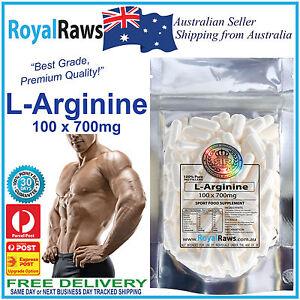 L Arginine Pure Premium Quality Capsules 100 x 700mg Strength Pump Nitric Oxide