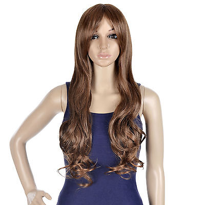 Halloween Long Wavy Wig Light Brown Curly Hair Wig Women's Bang- Full Wig (Brown Wig Halloween)