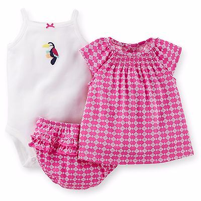 NEW NWT Carters 3 Piece Diaper Cover Set Toucan 3 6 or 9 Months Ruffles