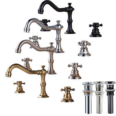 Widespread Bathroom Basin Faucet Dual Handles Sink Mixer Tap Three Holes (Widespread Sink Set)