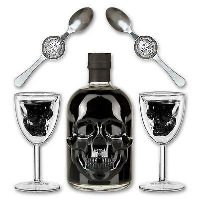 Black Head Absinthe + 2x Absinth Glas Skull Chalice + 2x Absinth Löffel Skull