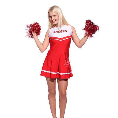 Mädchen Cheerleader Kostüm Uniform mit Pompins GoGo Schulmädchen Dress Outfit