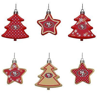 49ers Christmas Ornaments (San Francisco 49ers Shatterproof TREES & STARS Christmas Tree Ornaments 6)