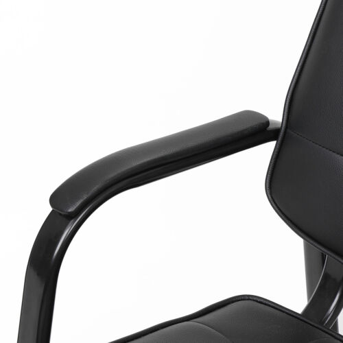 Black Leather Guest Chair Reception Waiting Room Office Desk Side Chairs Classic 8