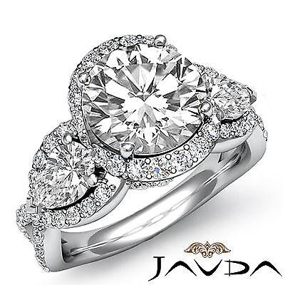 3 Stone Halo Cross Shank Pave Set Round Diamond Engagement Ring GIA F SI1 2.4Ct